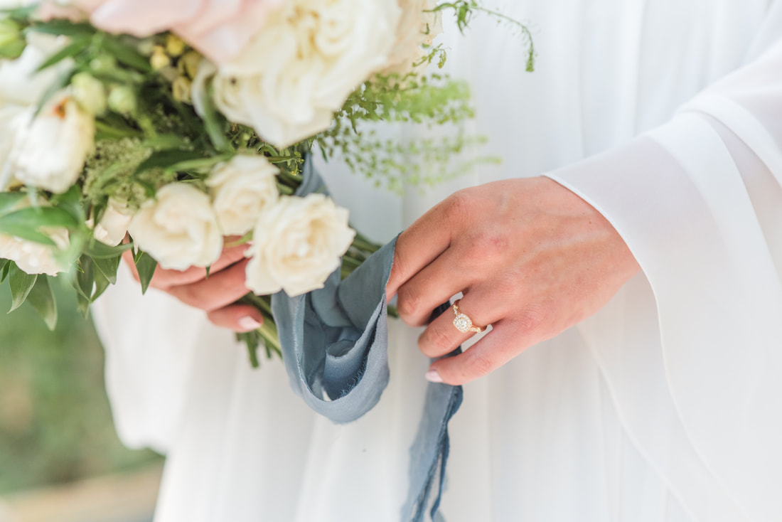 engagement ring + floral ribbons fine art bridal portraiture session