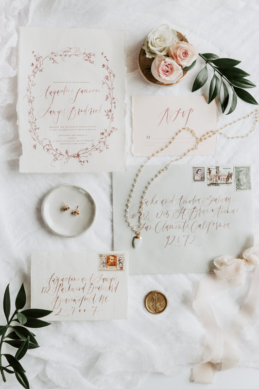 wedding stationery flat lay summer session