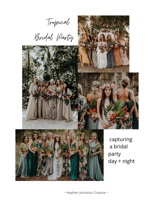 tropical wedding party session mood board